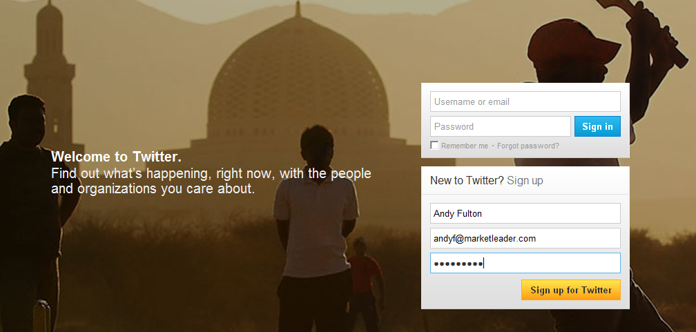 The first page of Twitter's account creation process; your name, email address and a password must be provided