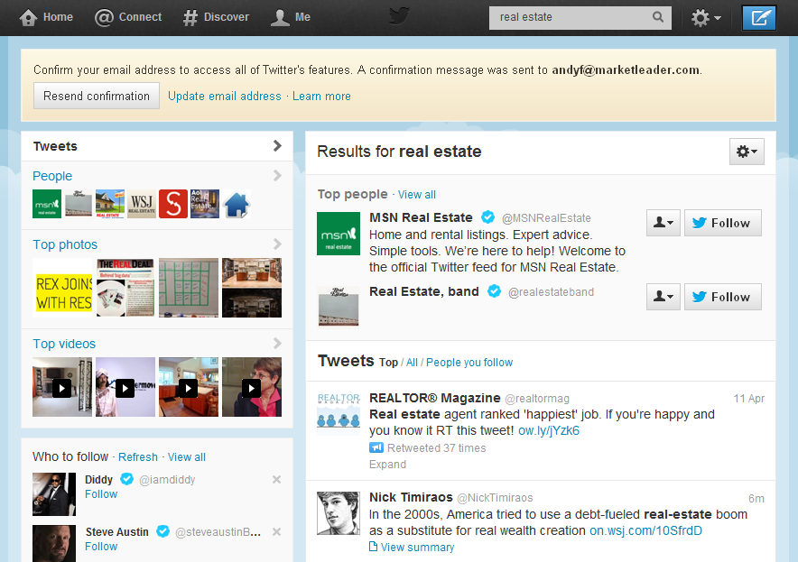 """Search results for a Twitter search for the term """"real estate"""""""