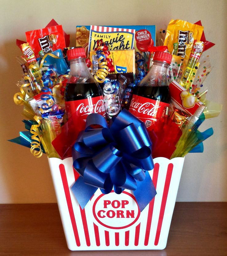 movie night basket gift with popcorn, soda and candy