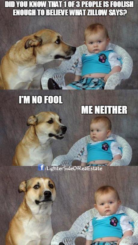 dog and baby talking real estate meme