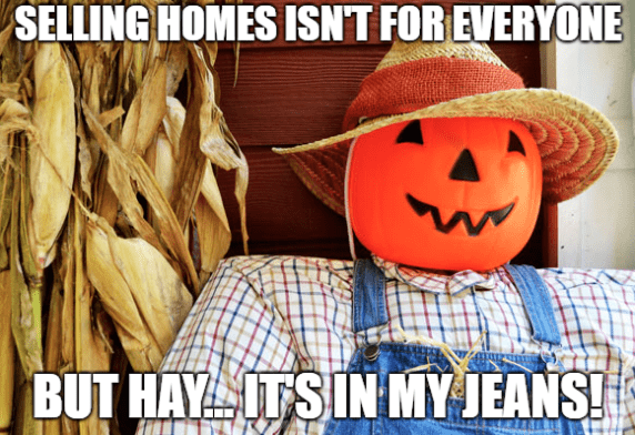 scarecrow on porch with pumpkin head real estate meme