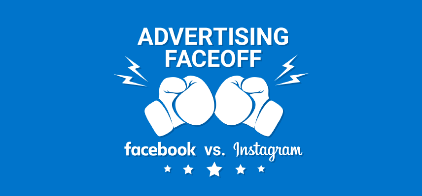 advertising faceoff illustration with facebook and instagram logos and boxing gloves