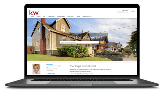 Keller Wiliams website screenshot of homepage with beautiful house